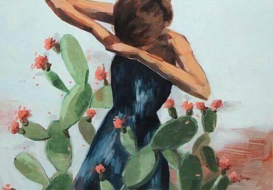 donna-intrappolata-in-un-cactus