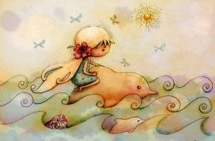 bambina -su-un-delfino