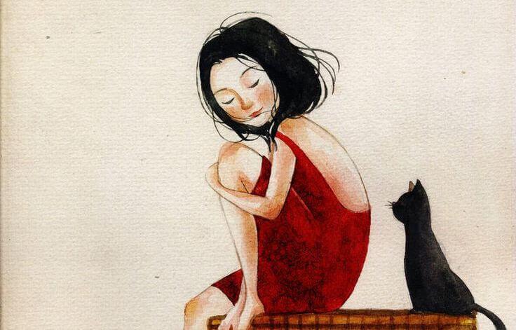 ragazza-con-vestito-rosso-e-gatto-nero