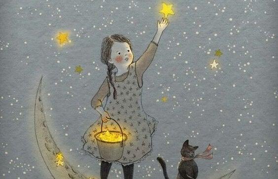 Musica leggera Bambina-con-gatto-raccoglie-stelle