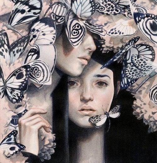 cuore spezzato ragazze farfalle