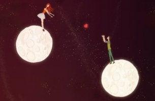 Coppia su pianeti diversi cuore