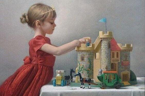 bambina gioca