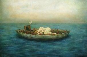donna sola su barca