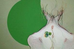 Donna di spalle trifoglio dolore cronico