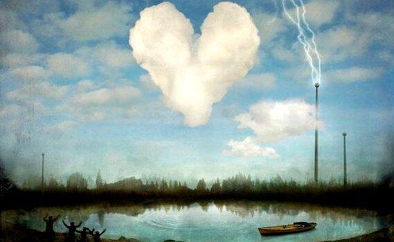 il tempo e i sentimenti nuvola a forma di cuore e barca