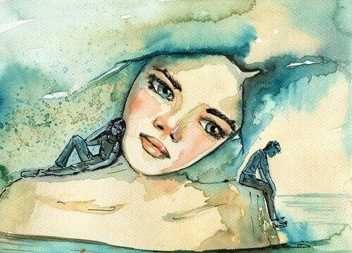Donna pensierosa a causa di bassi livelli di serotonina