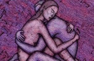 Coppia abbracciata le cui anime riescono a toccarsi