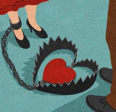 Donna con la trappola della codipendenza emotiva