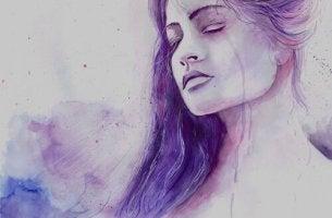 Donna triste a causa di bassi livelli di serotonina