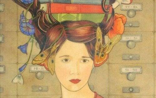 Donna con farfalle e libri in testa