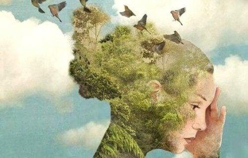 libri sull'intelligenza emotiva testa di donna con foresta