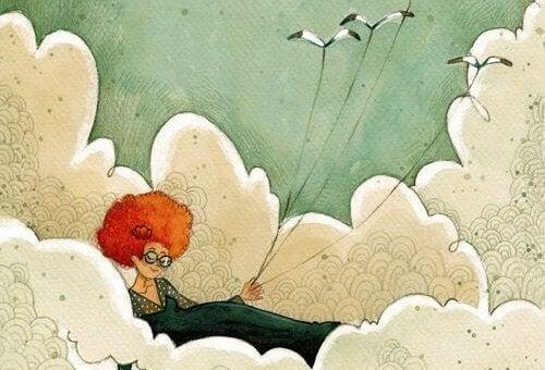Donna che sfrutta il vento