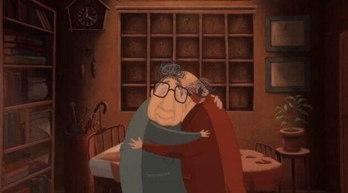 Coppia anziana che si abbraccia e affronta insieme i duri colpi della vita