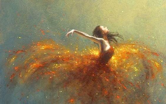 Ballerina con un vestito fatto di luci