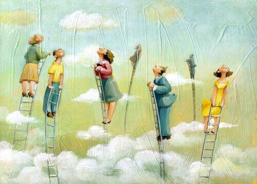 Persone su scale tra le nuvole