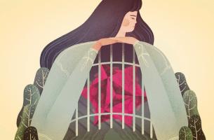 Donna con il cuore in gabbia dalla superficialità