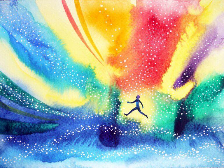 Uomo circondato da colori