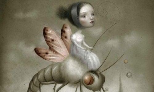 Bambina che cavalca un insetto, rappresentando il controllo