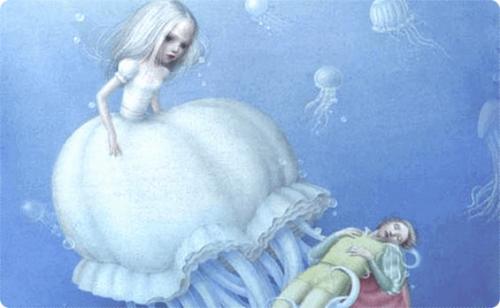 Bambina con sembianze di medusa che tiene in braccio un uomo per controllarlo