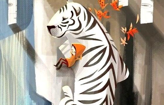 Bambina che dorme su una tigre bianca