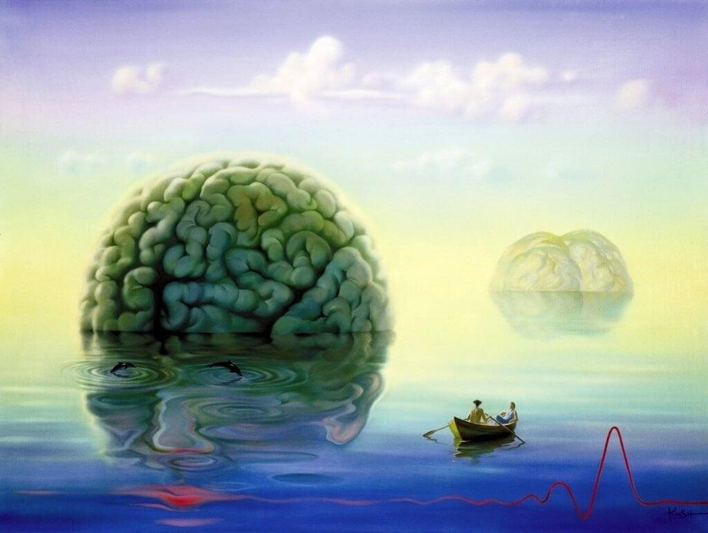 Cervello gigante nel mare vicino a una barca