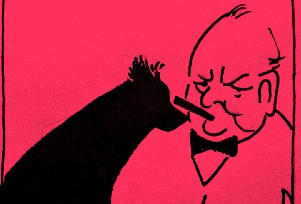 Churchill e il suo cane nero