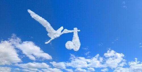 Nuvola a forma di cicogna che porta un neonato