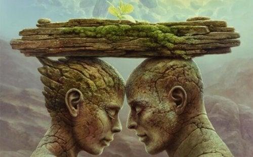 Uomo e donna di pietra da cui nasce una pianta