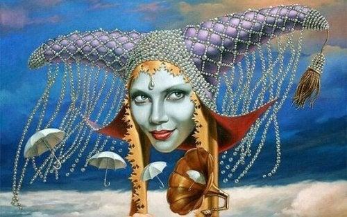 Viso di donna con corna