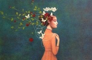 Donna con fiori e farfalle essere stanchi