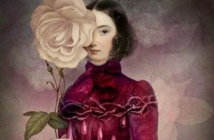 Donna che prova gelosia con una rosa