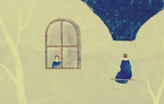 Donna che vede se stessa alla finestra
