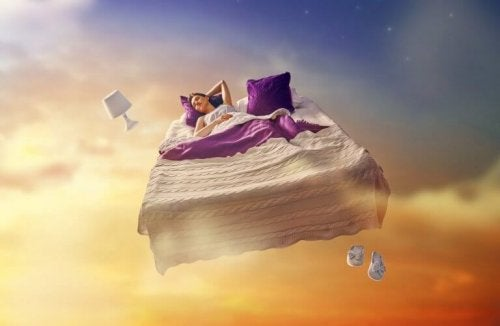 Donna su letto volante