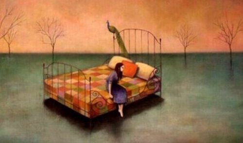 Bambina sul letto
