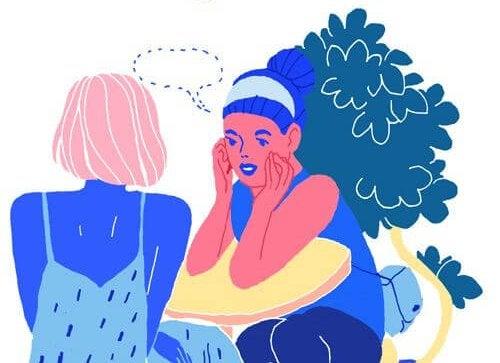 Donne sedute che chiacchierano