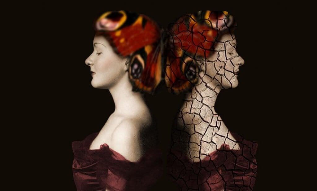 Due donne speculari e di spalle, rappresentano le luci e le ombre