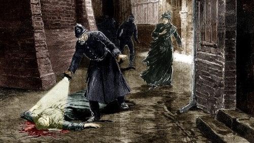 Illustrazione di poliziotti che ritrovano un cadavere nelle strade di Londra ai tempi di Jack Lo Squartatore