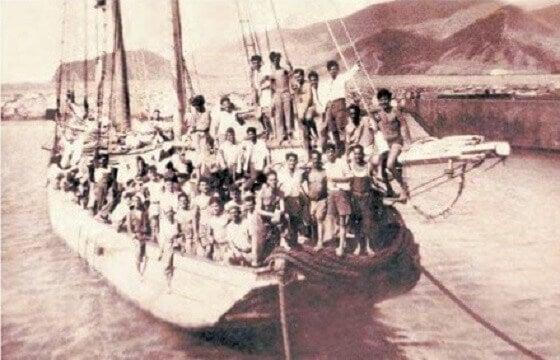 Nave con immigrati europei verso l'America