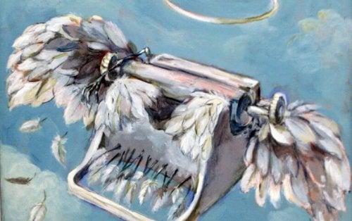 Macchina da scrivere con le ali