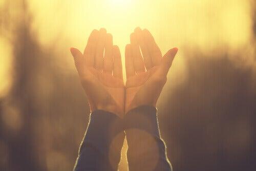 Mani di persona che pratica la religione