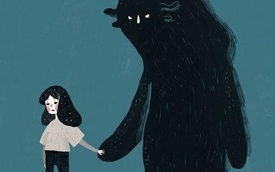 Bambina che prende per mano la sua paura