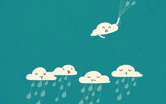 Nuvola felice che si allontana