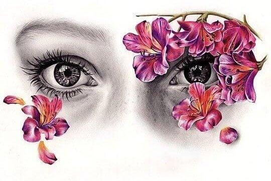 Occhi di ragazza con fiori