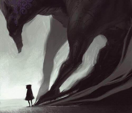 Persona con una grande ombra di lupo