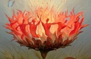 Autonomia e persone che formano un fiore