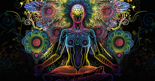 Donna colorata che fa yoga