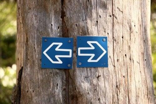 Indicazioni stradali verso destra e sinistra