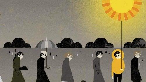 Uomo con il sole in fila assieme a uomini grigi