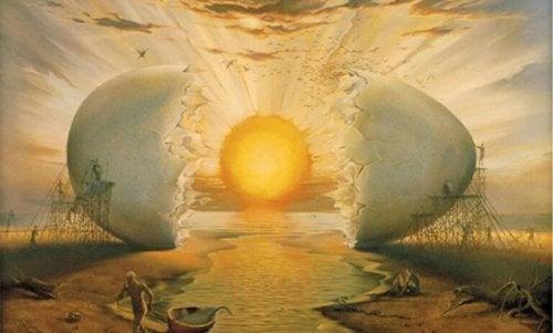 Uovo con il sole al centro